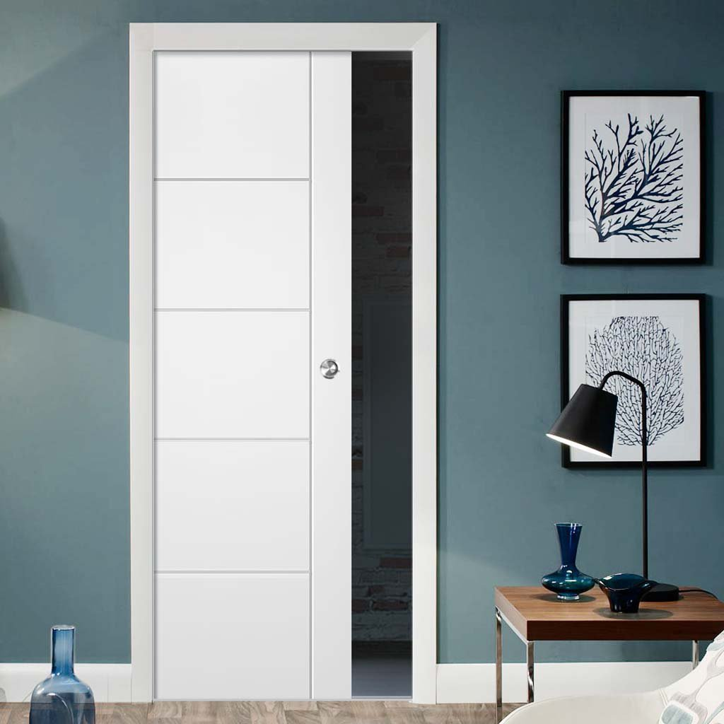 Portici White Flush Single Evokit Pocket Door - Aluminium Inlay - Prefinished