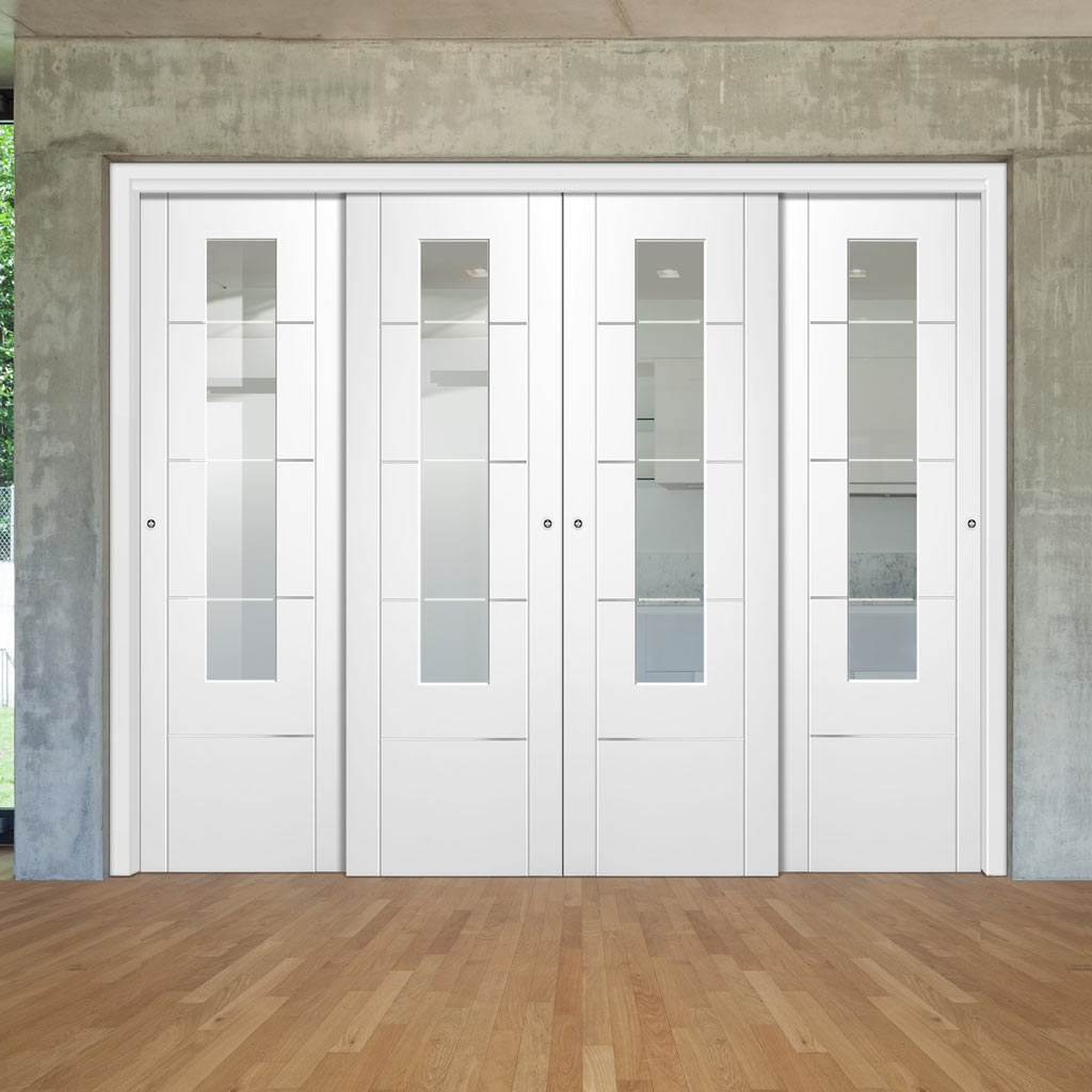 Four Sliding Doors and Frame Kit - Portici White Door - Clear Etched Glass - Aluminium Inlay - Prefinished