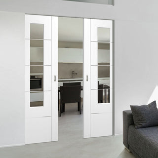 Image: Portici White Absolute Evokit Double Pocket Door - Clear Etched Glass - Aluminium Inlay - Prefinished
