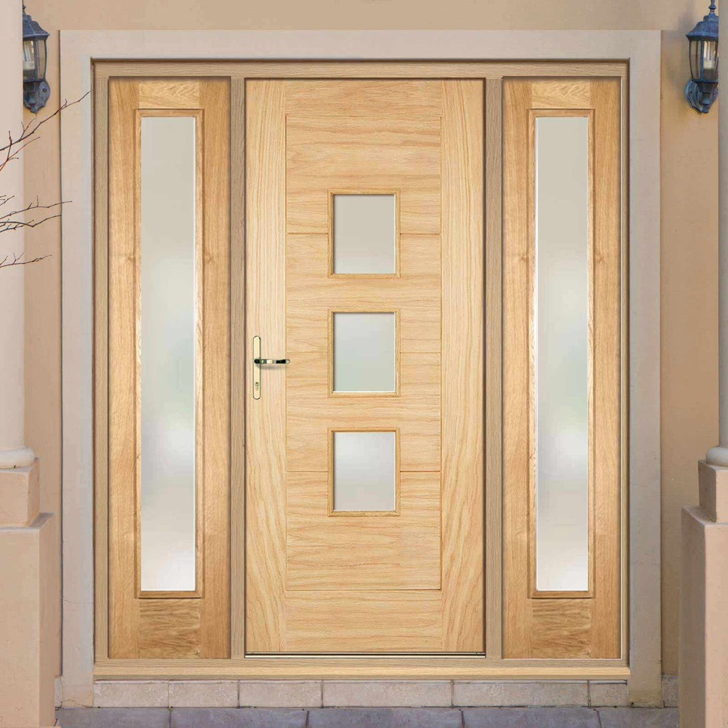 Part L Compliant Arta Exterior Oak Door and Frame Set - Frosted Double Glazing - Two Side Screens, From LPD Joinery
