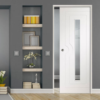 Image: Potenza White Flush Single Evokit Pocket Door - Clear Glass - Prefinished