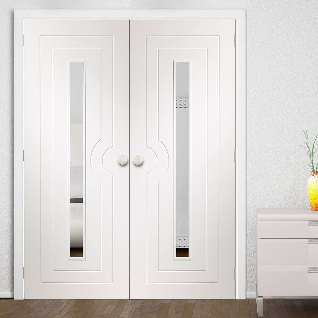 Potenza White Flush Door Pair - Clear Glass - Prefinished