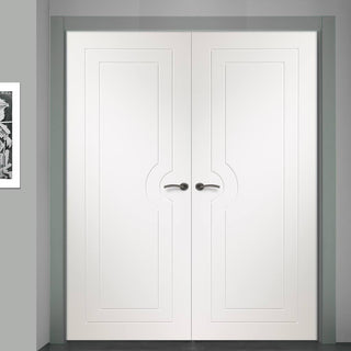 Image: Simpli Double Door Set - Potenza White Flush Door - Prefinished