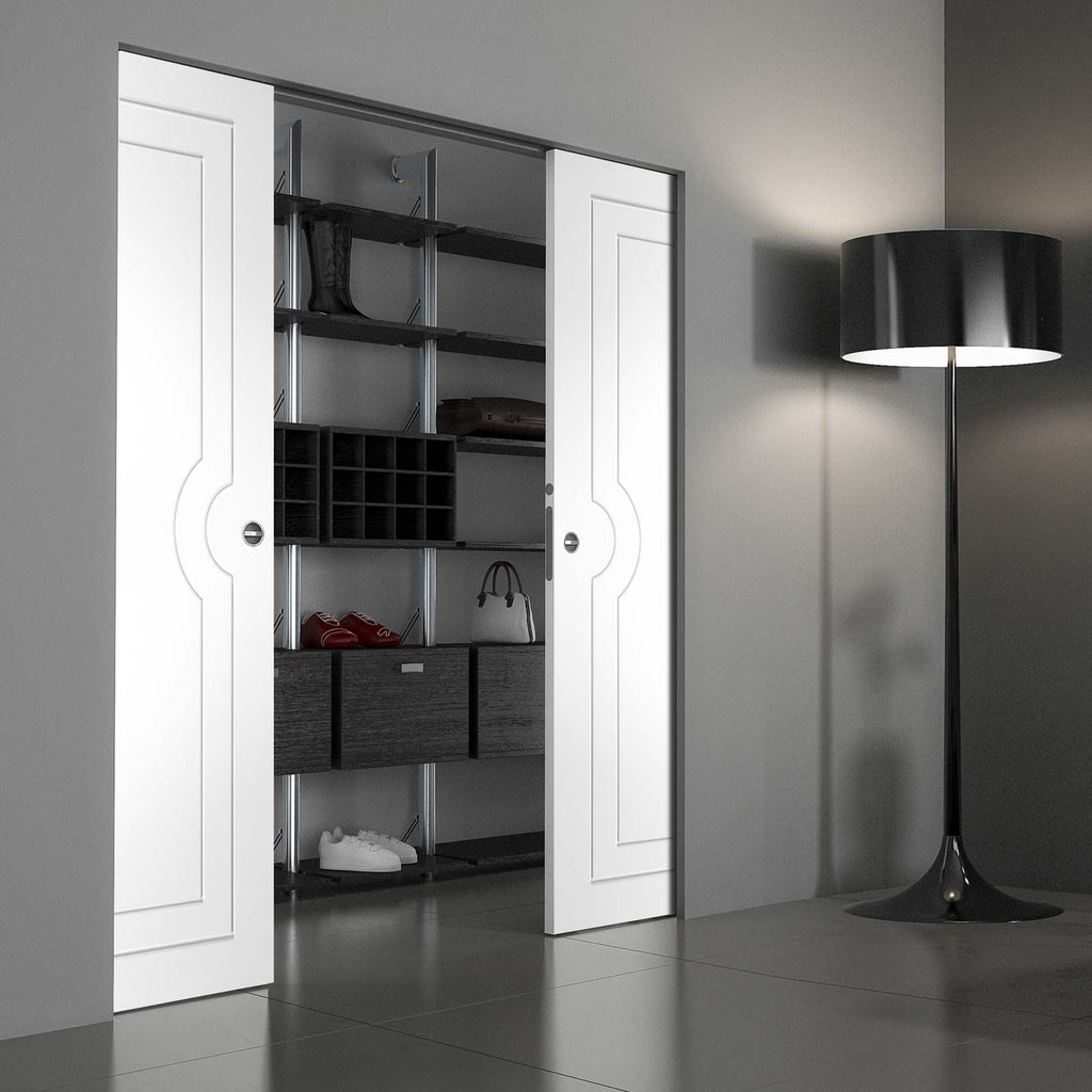 Potenza White Flush Absolute Evokit Double Pocket Door - Prefinished