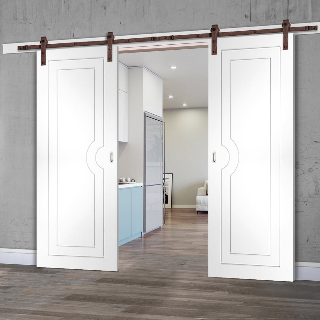 Double Sliding Door & Straight Antique Rust Track - Potenza White Flush Door - Prefinished