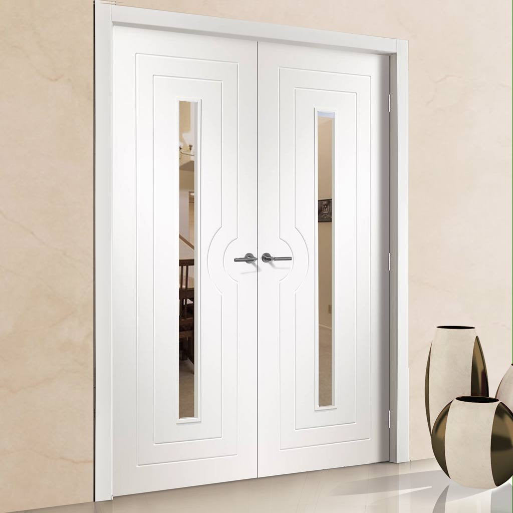 Bespoke Potenza White Glazed Door Pair - Prefinished