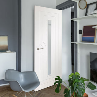 Image: Potenza White Flush Door - Clear Glass - Prefinished - From Xl Joinery