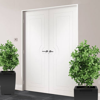 Image: Bespoke Potenza White Flush Door Pair - Prefinished