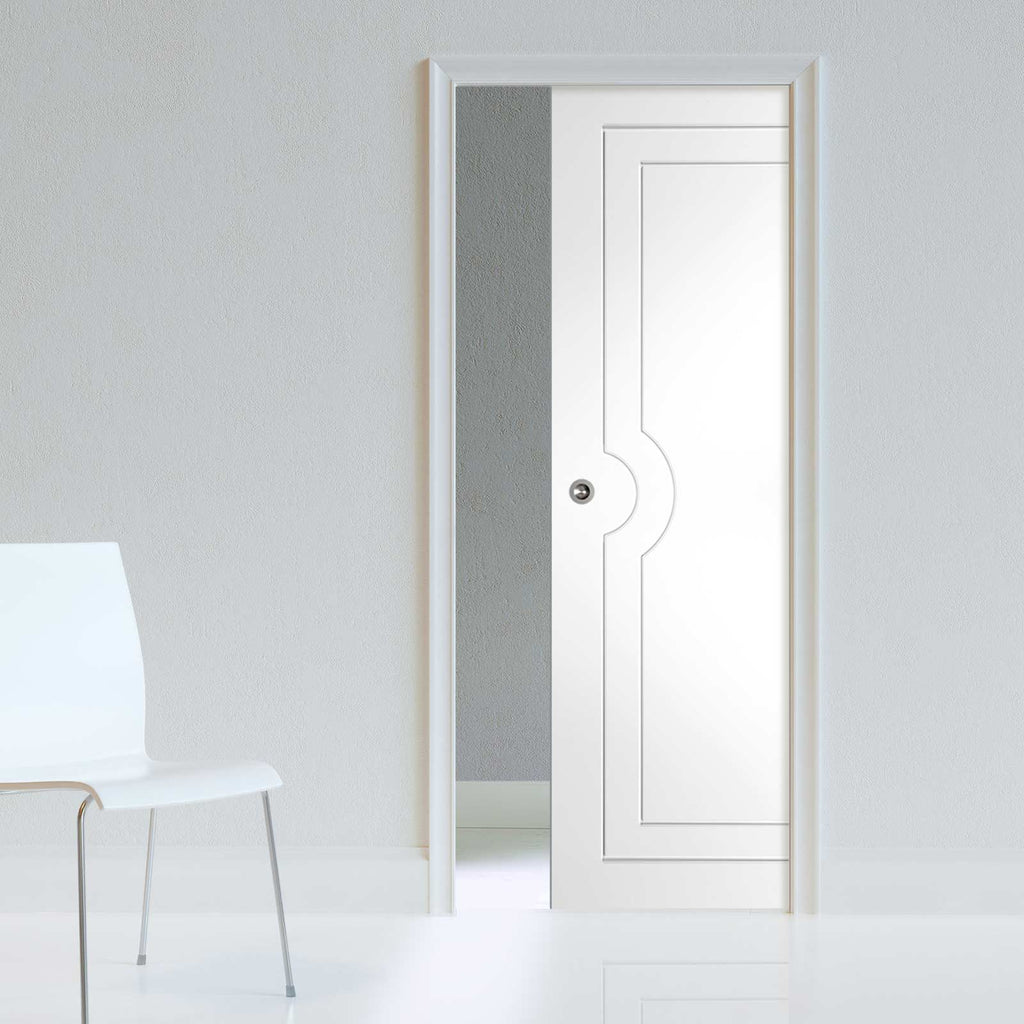 Potenza White Flush Single Evokit Pocket Door - Prefinished
