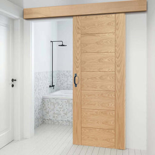 Image: Thruslide Surface Palermo Oak - Sliding Door and Track Kit - Prefinished