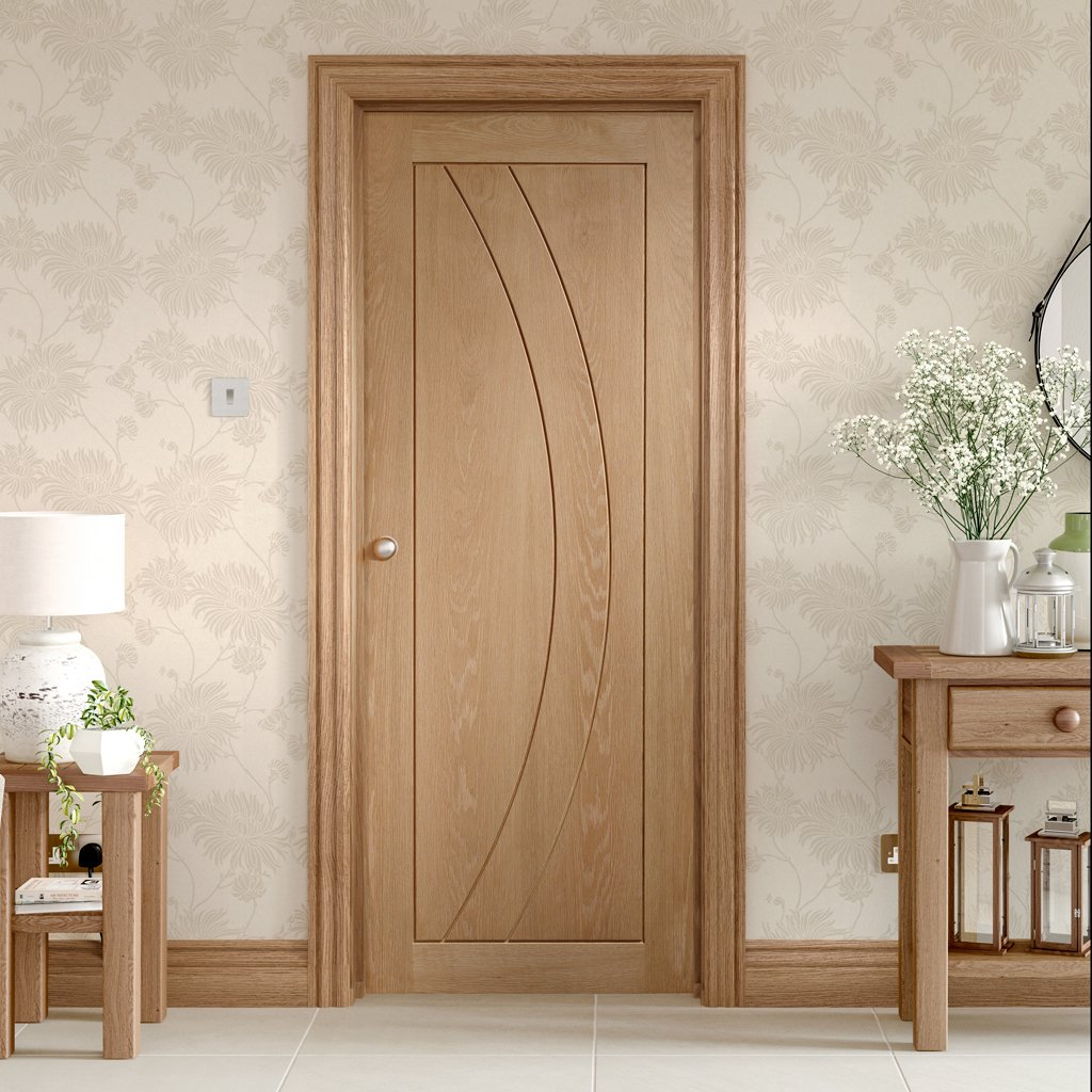 Door and Frame Kit - Salerno Oak Flush Door - Prefinished