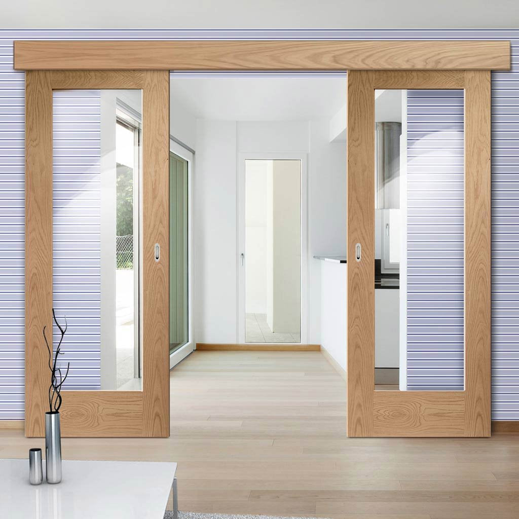 Double Sliding Door & Wall Track - Pattern 10 Oak 1 Pane Doors - Clear