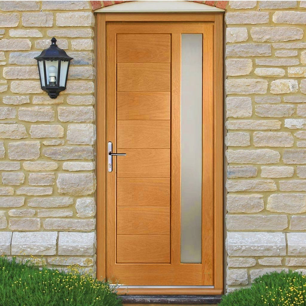 Prefinished Modena Oak Door and Frame Set - Frosted Double Glazing