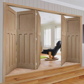 Image: Five Folding Doors & Frame Kit - DX 1930'S Oak Panel 3+2 - Prefinished