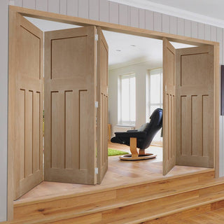 Image: Bespoke Thrufold DX 1930'S Oak Panel Folding 3+2 Door - Prefinished
