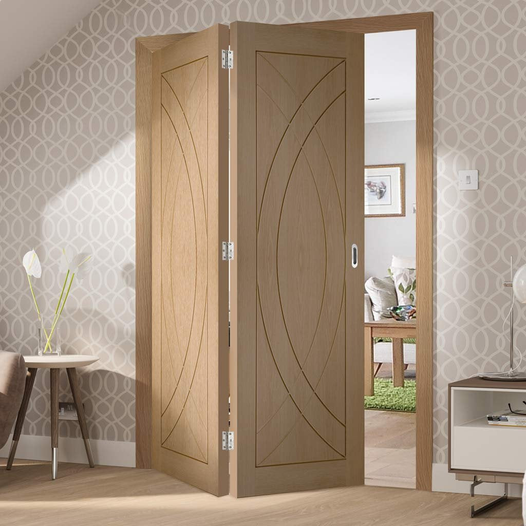 Bespoke Thrufold Treviso Oak Flush Folding 2+0 Door - Prefinished