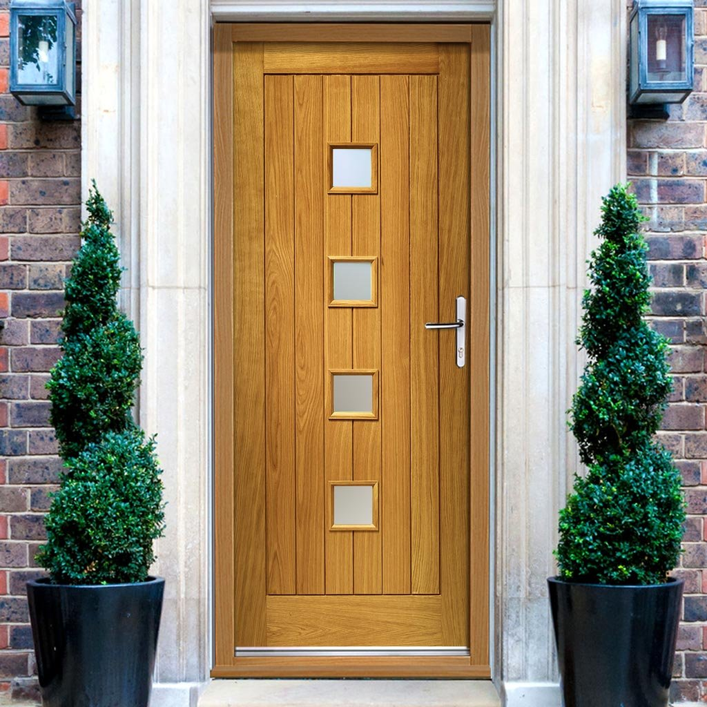 Prefinished Siena Oak Door and Frame Set - Frosted Double Glazing