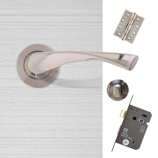 Image: Fortuna Premium Bathroom Door Handle Pack - Satin Chrome