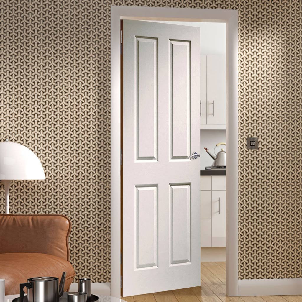 Fire Proof Victorian 4 Panel Fire Door - Woodgrained Surface - 1/2 Hour Fire Rated - White Primed