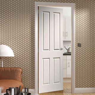 Image: Victorian 4 Panel Fire Door - Woodgrained Surface - 1/2 Hour Fire Rated - White Primed