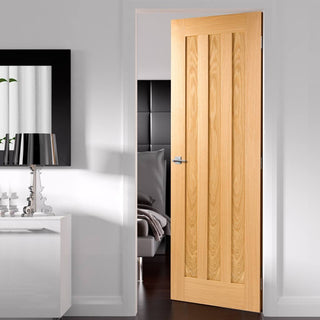 Image: Fire Door, Idaho 3 Panel Oak - 1/2 hour Fire Rated