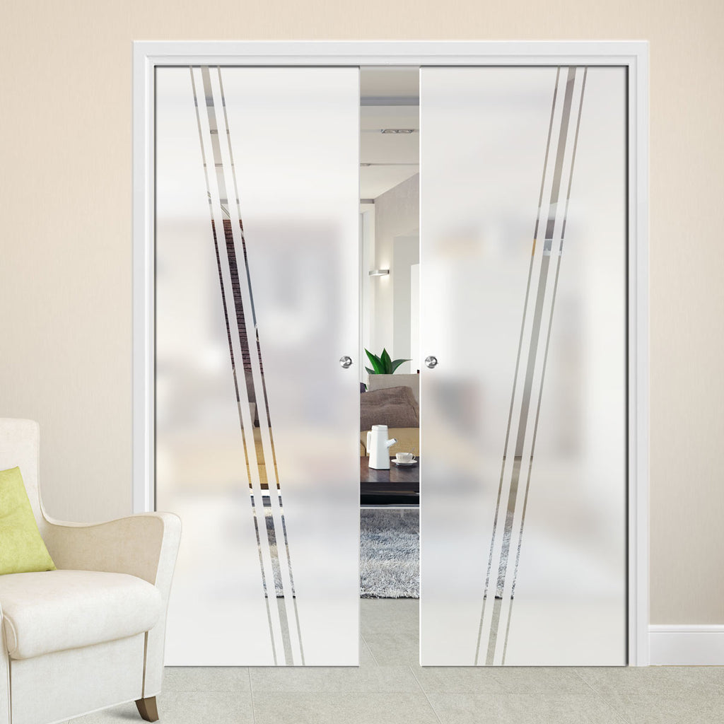 Preston 8mm Obscure Glass - Clear Printed Design - Double Evokit Pocket Door