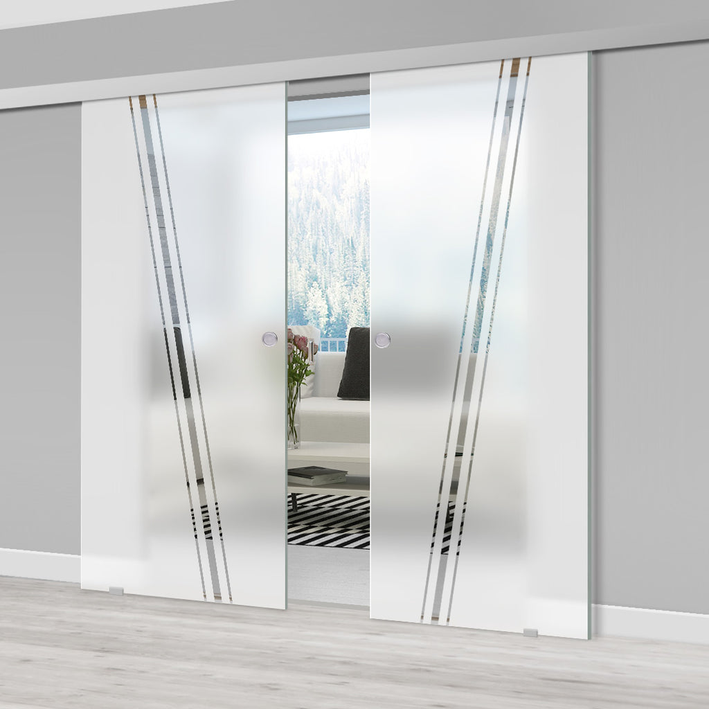 Double Glass Sliding Door - Preston 8mm Obscure Glass - Clear Printed Design - Planeo 60 Pro Kit