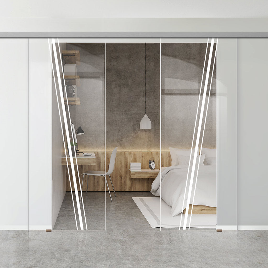 Double Glass Sliding Door - Preston 8mm Clear Glass - Obscure Printed Design - Planeo 60 Pro Kit