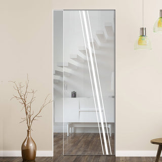 Image: Preston 8mm Clear Glass - Obscure Printed Design - Single Absolute Pocket Door