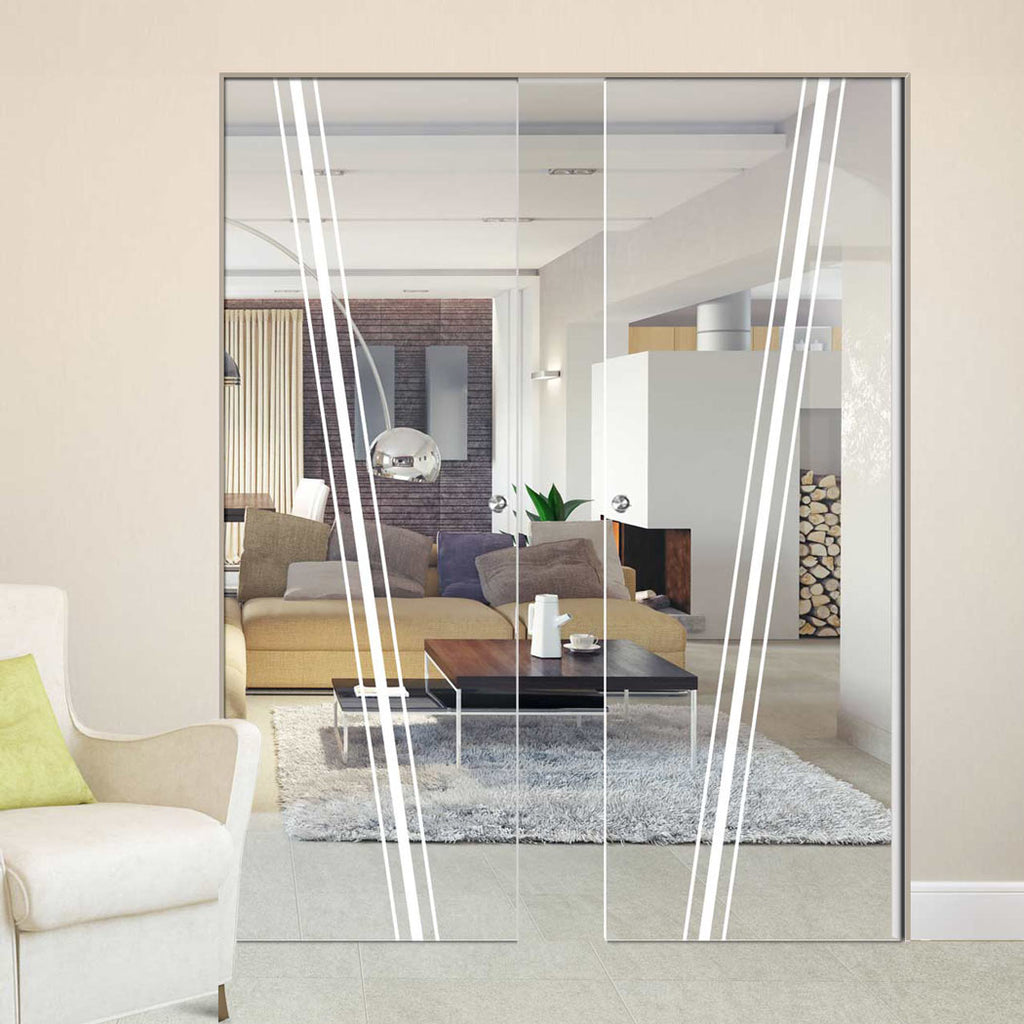 Preston 8mm Clear Glass - Obscure Printed Design - Double Absolute Pocket Door