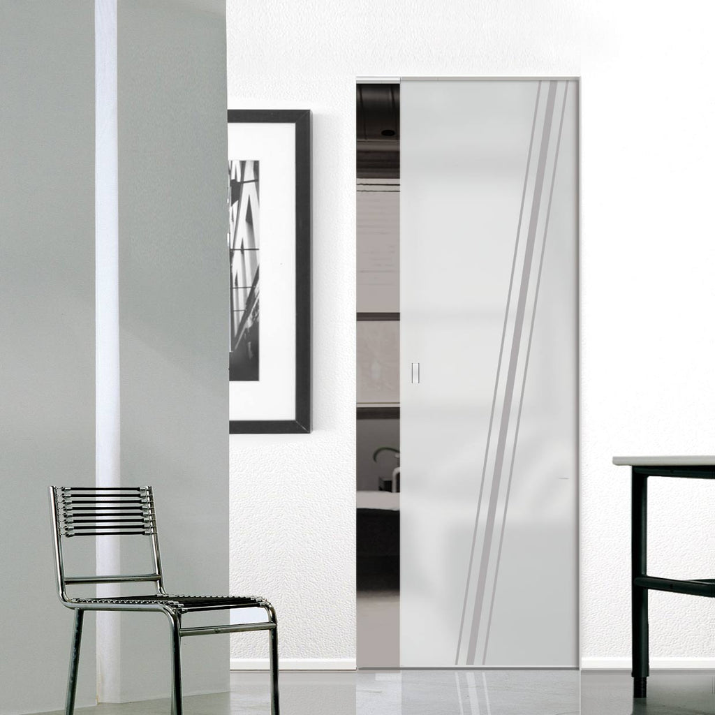 Preston 8mm Obscure Glass - Obscure Printed Design - Single Absolute Pocket Door
