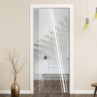 Image: Preston 8mm Clear Glass - Obscure Printed Design - Single Evokit Glass Pocket Door