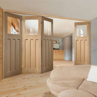 Image: Bespoke Thrufold DX 1930's Oak Glazed Folding 3+1 Door - Prefinished