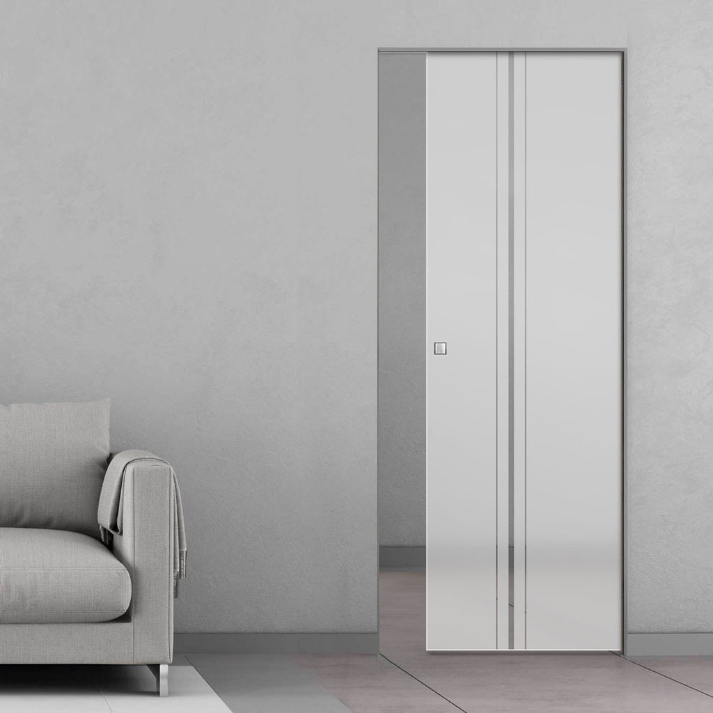 Ratho 8mm Obscure Glass - Clear Printed Design - Single Absolute Pocket Door