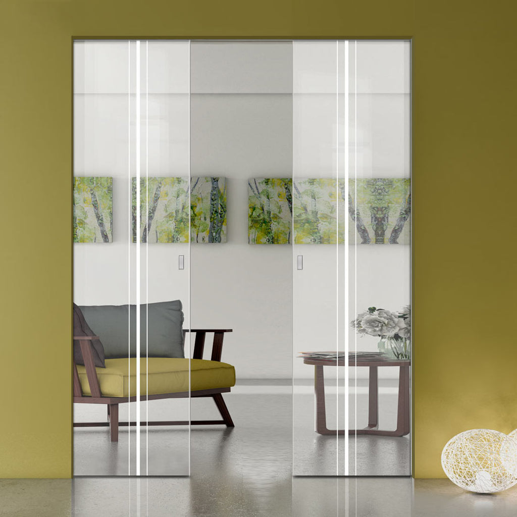 Ratho 8mm Clear Glass - Obscure Printed Design - Double Absolute Pocket Door