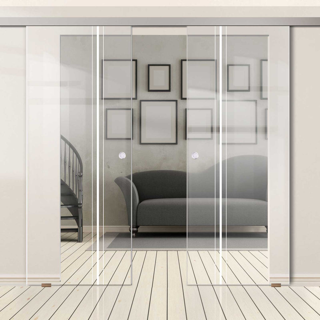 Double Glass Sliding Door - Ratho 8mm Clear Glass - Obscure Printed Design - Planeo 60 Pro Kit