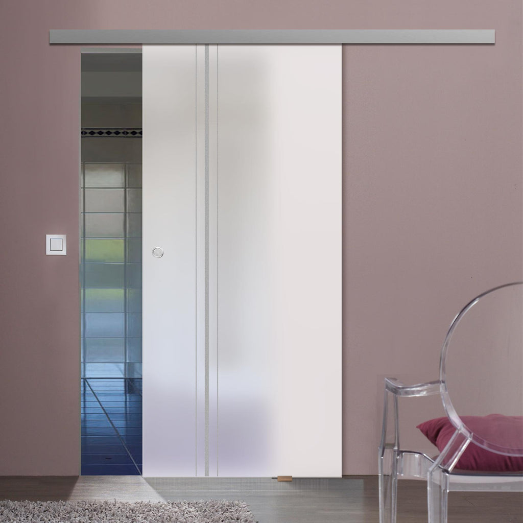 Single Glass Sliding Door - Ratho 8mm Obscure Glass - Obscure Printed Design - Planeo 60 Pro Kit