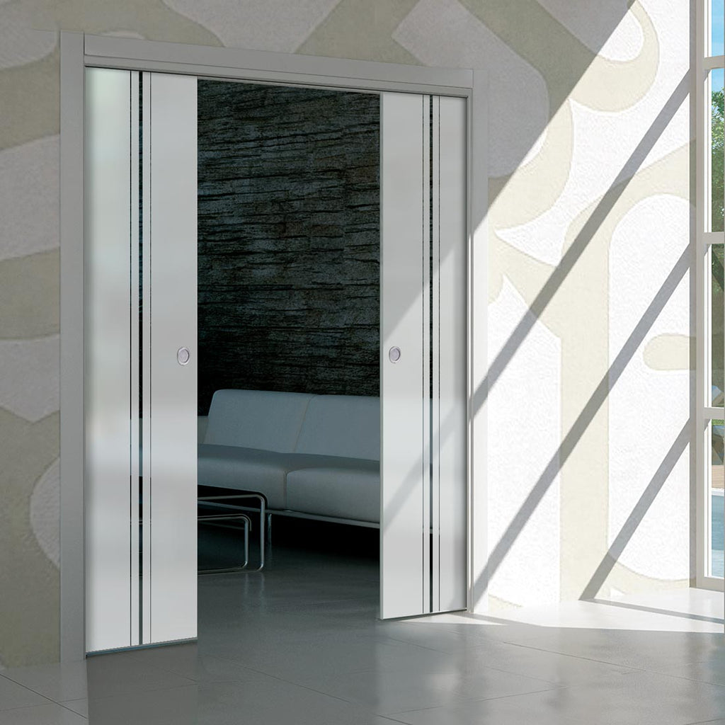 Ratho 8mm Obscure Glass - Clear Printed Design - Double Absolute Pocket Door