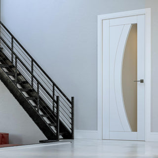 Image: Bespoke Ravello White Primed Door - Clear Glass