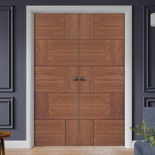 Image: Ravenna Walnut Flush Door Pair - Prefinished