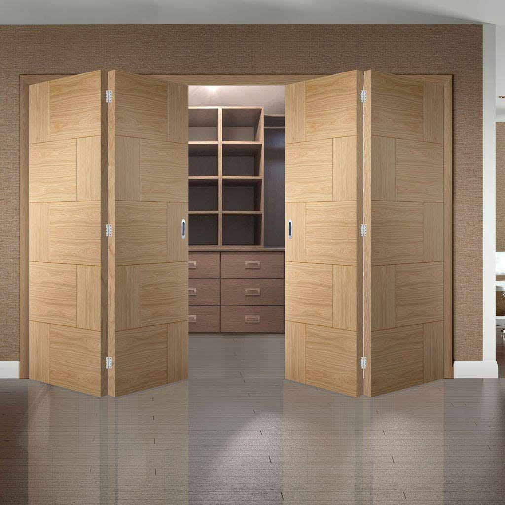 Four Folding Doors & Frame Kit - Ravenna Oak Flush 2+2 - Prefinished