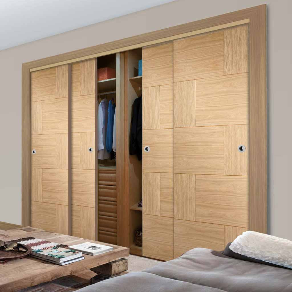 Bespoke Thruslide Ravenna Oak Flush 4 Door Wardrobe and Frame Kit