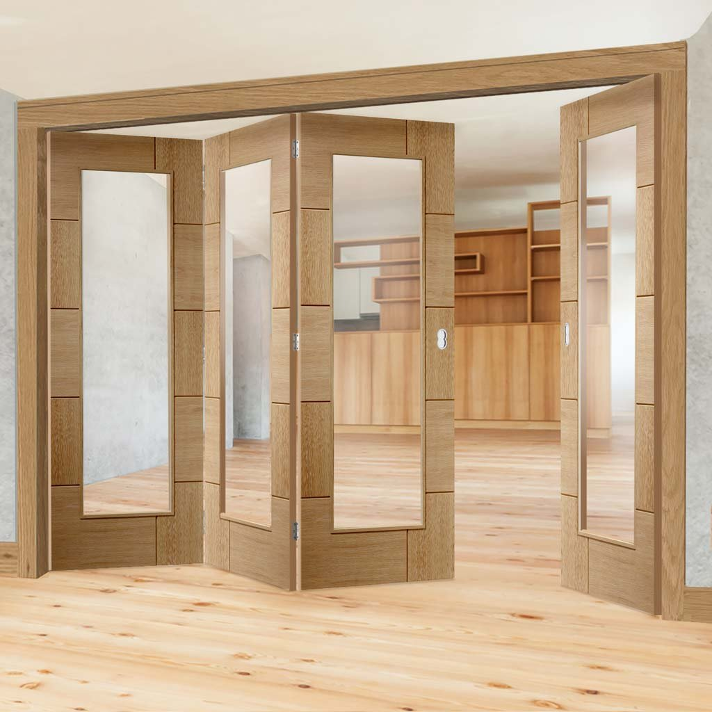 Bespoke Thrufold Ravenna Oak Glazed Folding 3+1 Door - Prefinished