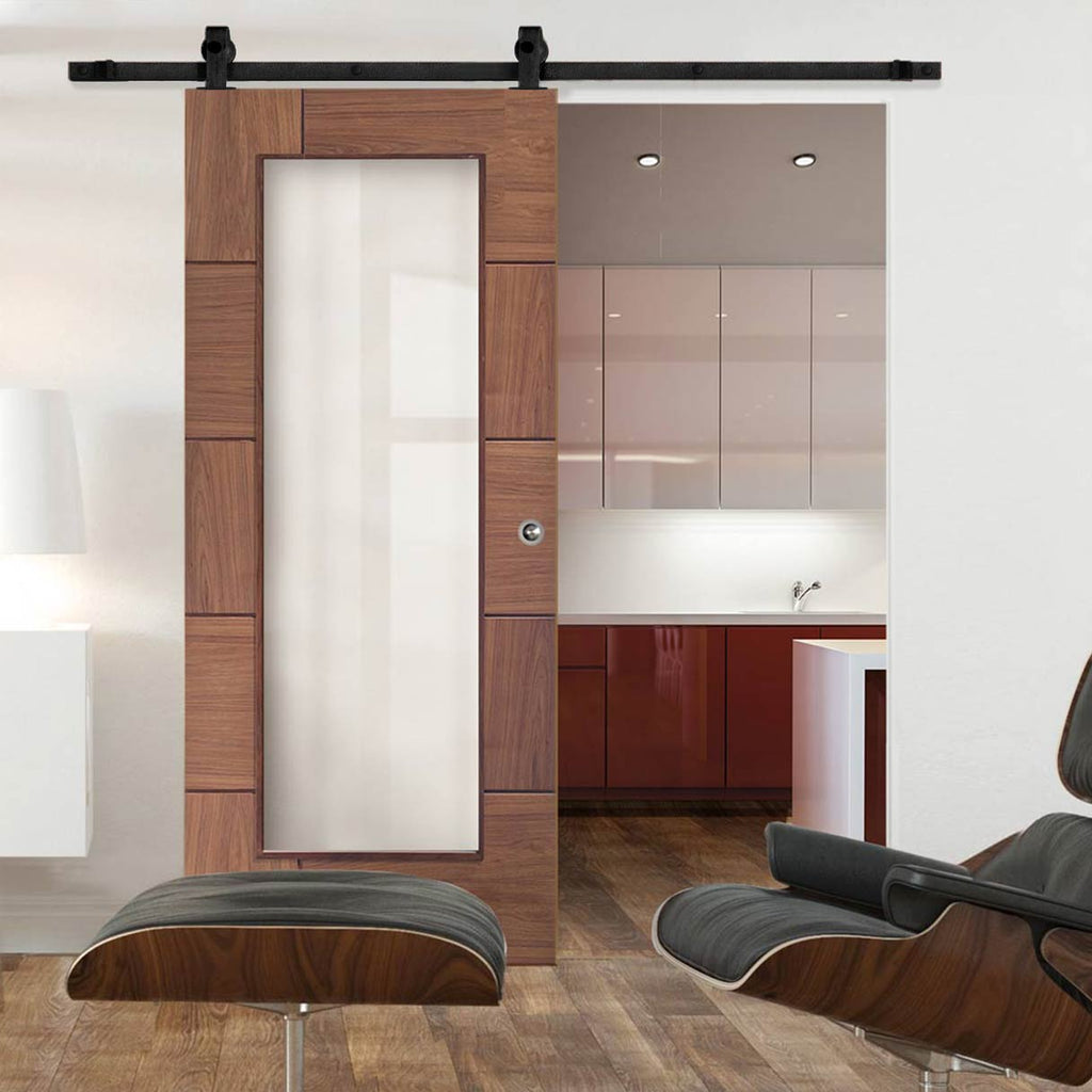 Top Mounted Sliding Track & Door - Ravenna Walnut Flush Door - Clear Glass - Prefinished