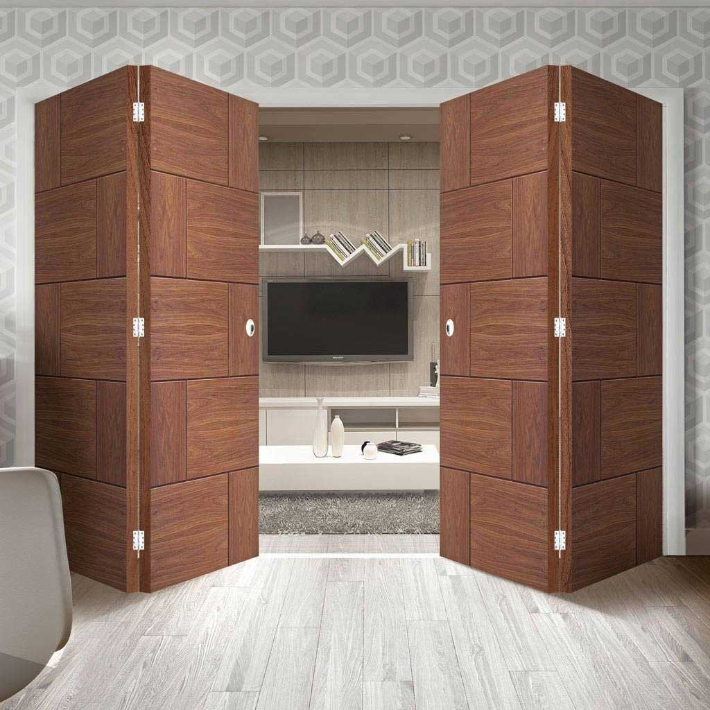 Bespoke Thrufold Ravenna Walnut Flush Folding 2+2 Door - Prefinished