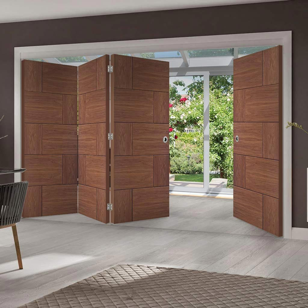 Bespoke Thrufold Ravenna Walnut Flush Folding 3+1 Door - Prefinished