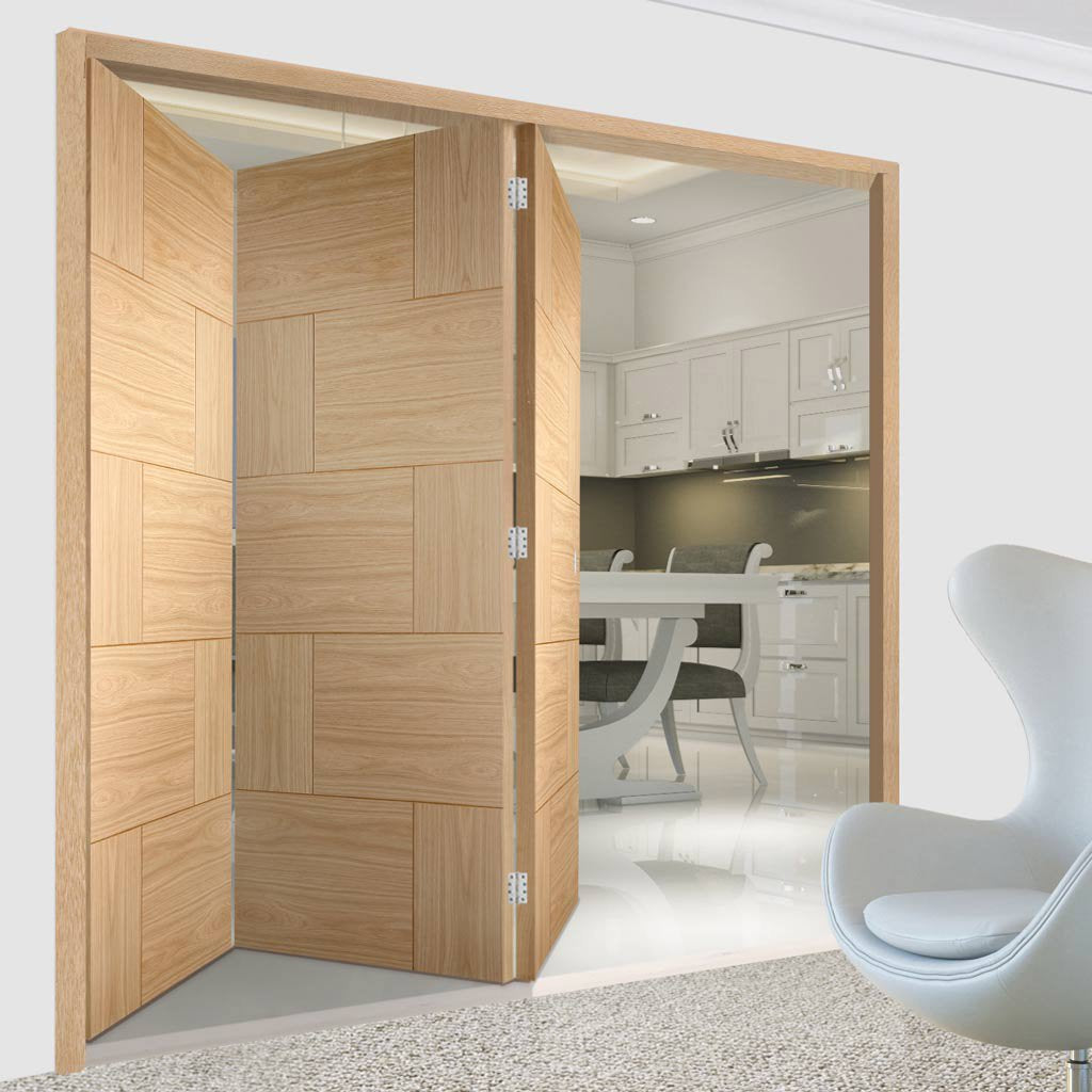 Three Folding Doors & Frame Kit - Ravenna Oak Flush 3+0 - Prefinished