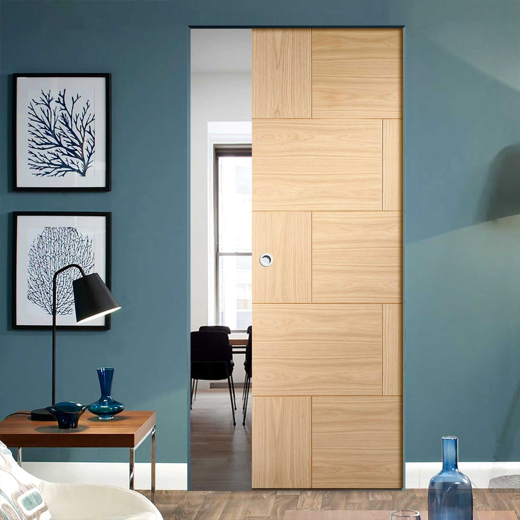 Ravenna Oak Flush Panel Absolute Evokit Pocket Door - Prefinished