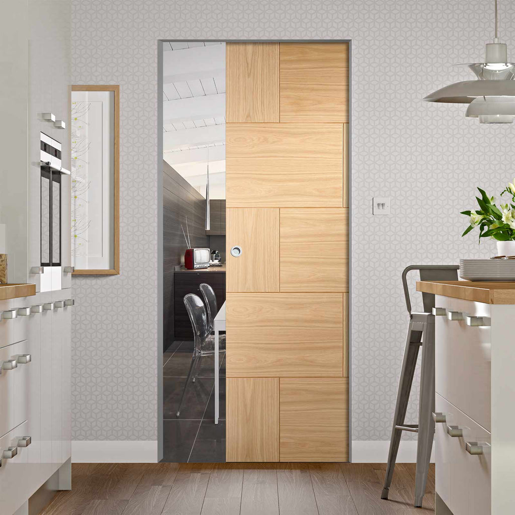 Ravenna Oak Flush Panel Absolute Evokit Pocket Door