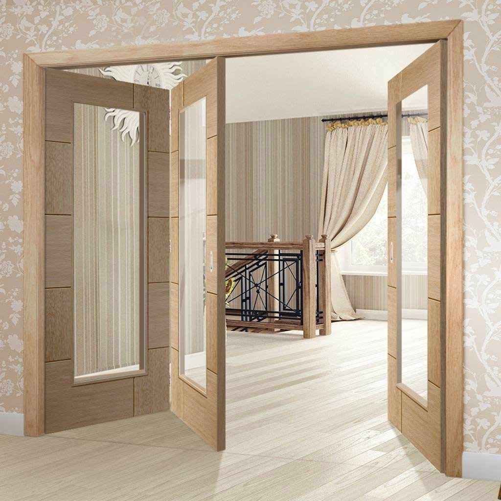 Three Folding Doors & Frame Kit - Ravenna Oak 2+1 - Clear Glass - Unfinished